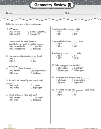 Geometry Basics: Review Quiz #1