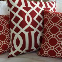 Cherry Red Lattice Solarium Indoor Outdoor Throw Pillow