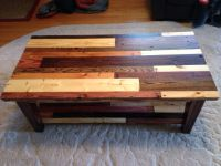 Coffee table made from pallet wood. Top view showing ...