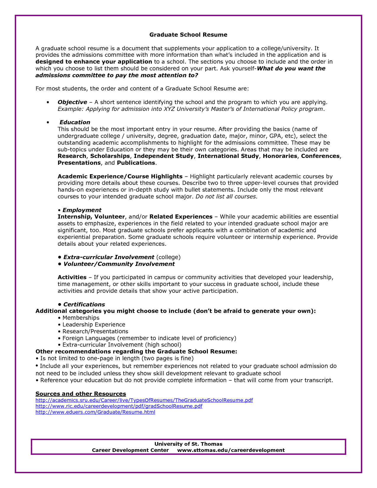 Graduate School Admissions Resume Sample Resumecareer