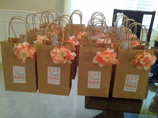 Gift bags for wine theme bridal shower.