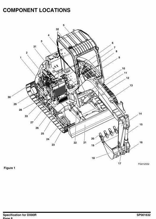 Doosan Excavator DX80R S/N: 50001 and Up Workshop Service