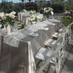 Chair Covers And Table Linens Rentals How To Reupholster A Cushion Champagne Satin Linen With An Ivory Organza Brocade