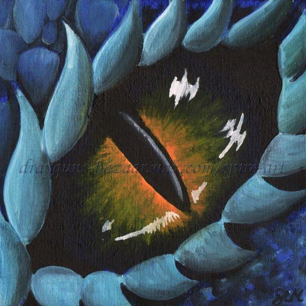 Original Art 6 X Dragon Eye Fantasy Blue Lizard Reptile Oil Painting Smcneill