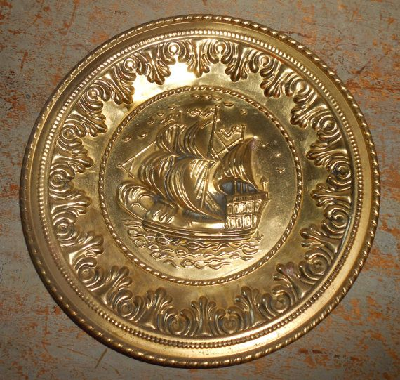 Vintage Wall Plates, Brass, Ships, Embossed, Metal