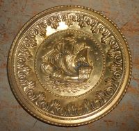 Vintage Wall Plates, Brass, Ships, Embossed, Metal ...
