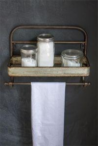 Farmhouse Metal Shelf and Towel Rack, Vintage Style Metal ...
