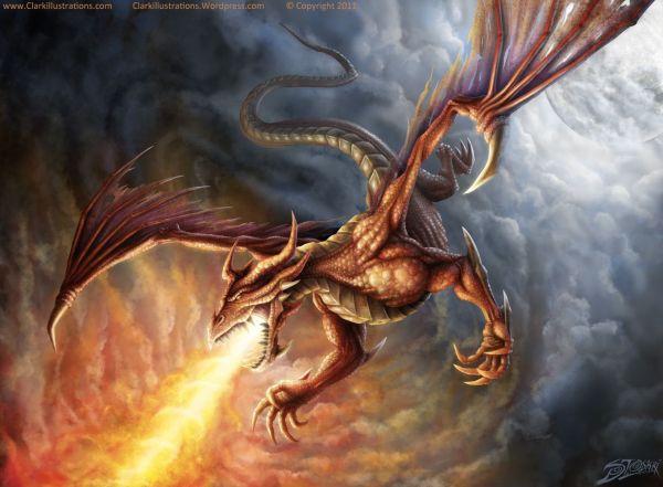 Flying Dragon Tattoos Pin Fire Breathing
