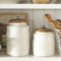 Decorative Kitchen Canisters Sets Kraft Maid Cabinets Ivory Farmhouse