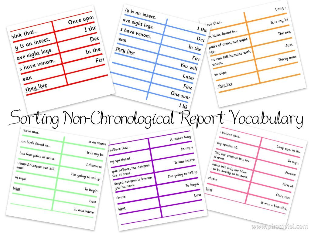 Sorting Non Chronological Report Vocabulary Differentiated Six Ways Writing