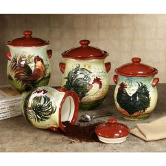 Chicken Decor For Kitchen Banquet Le Rooster Canister Set From Touch Of Class