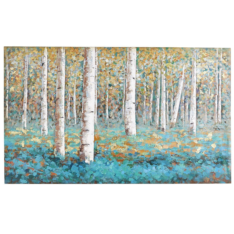 Luxe Teal Birch Tree Art