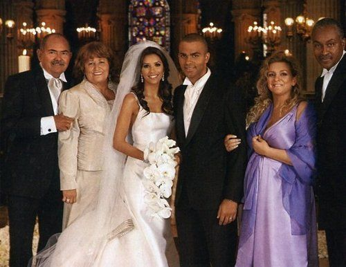 Eva Longoria & Tony Parker (July 7, 2007) Gown: Angel
