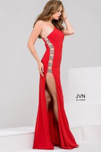 Sexy floor length form fitting one shoulder red jersey ...