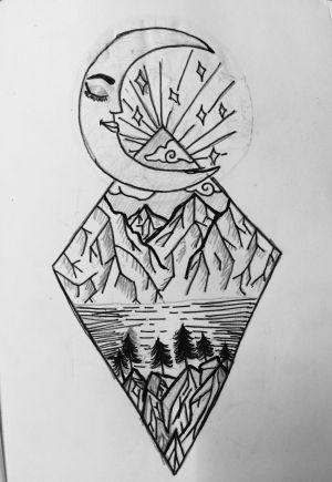 drawing cool doodles doodle easy drawings moon beginner simple pencil sketching charcoal
