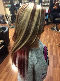 Chocolate Red Hair Color With Blonde Highlights | www ...