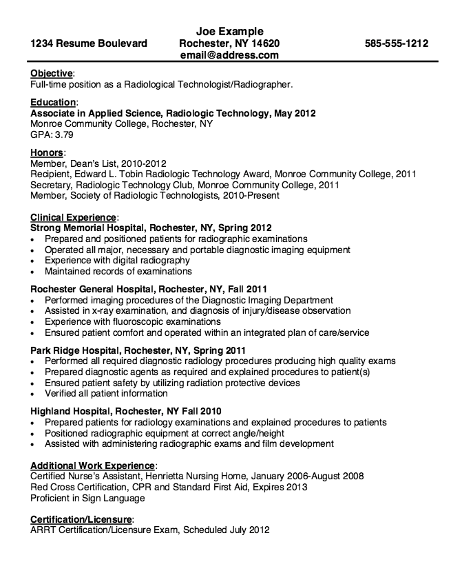 free radiologic technologist resume templates