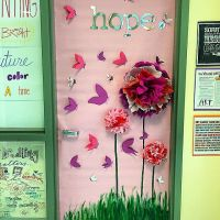 Breast cancer awareness door decorating contest today #