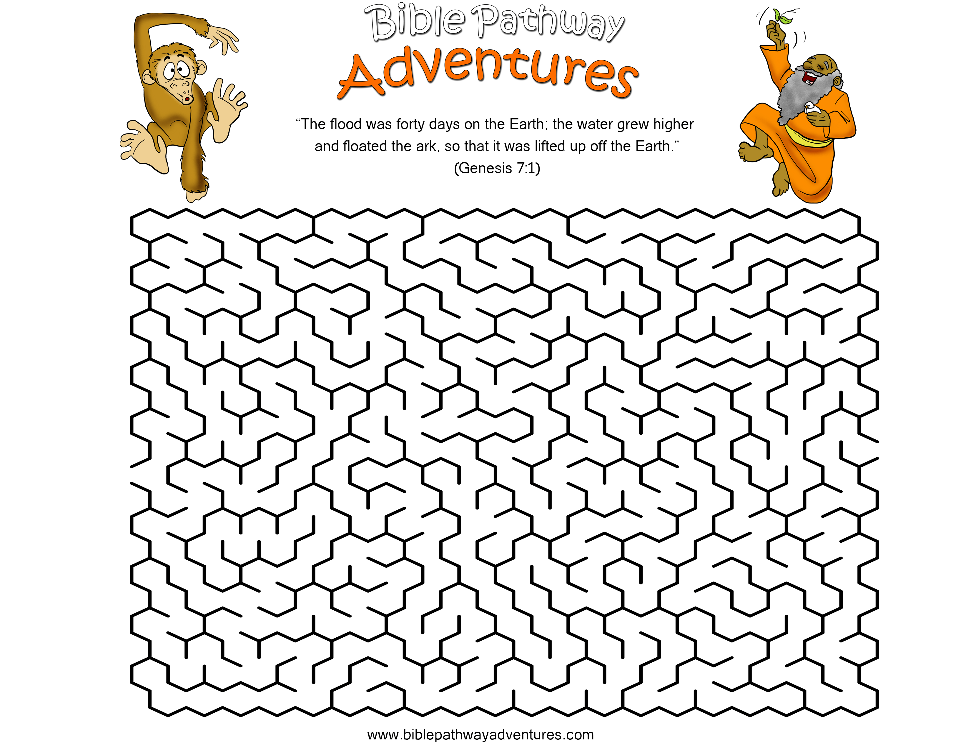 A Maze Activity Sheet For Kids From The Story The Great Flood