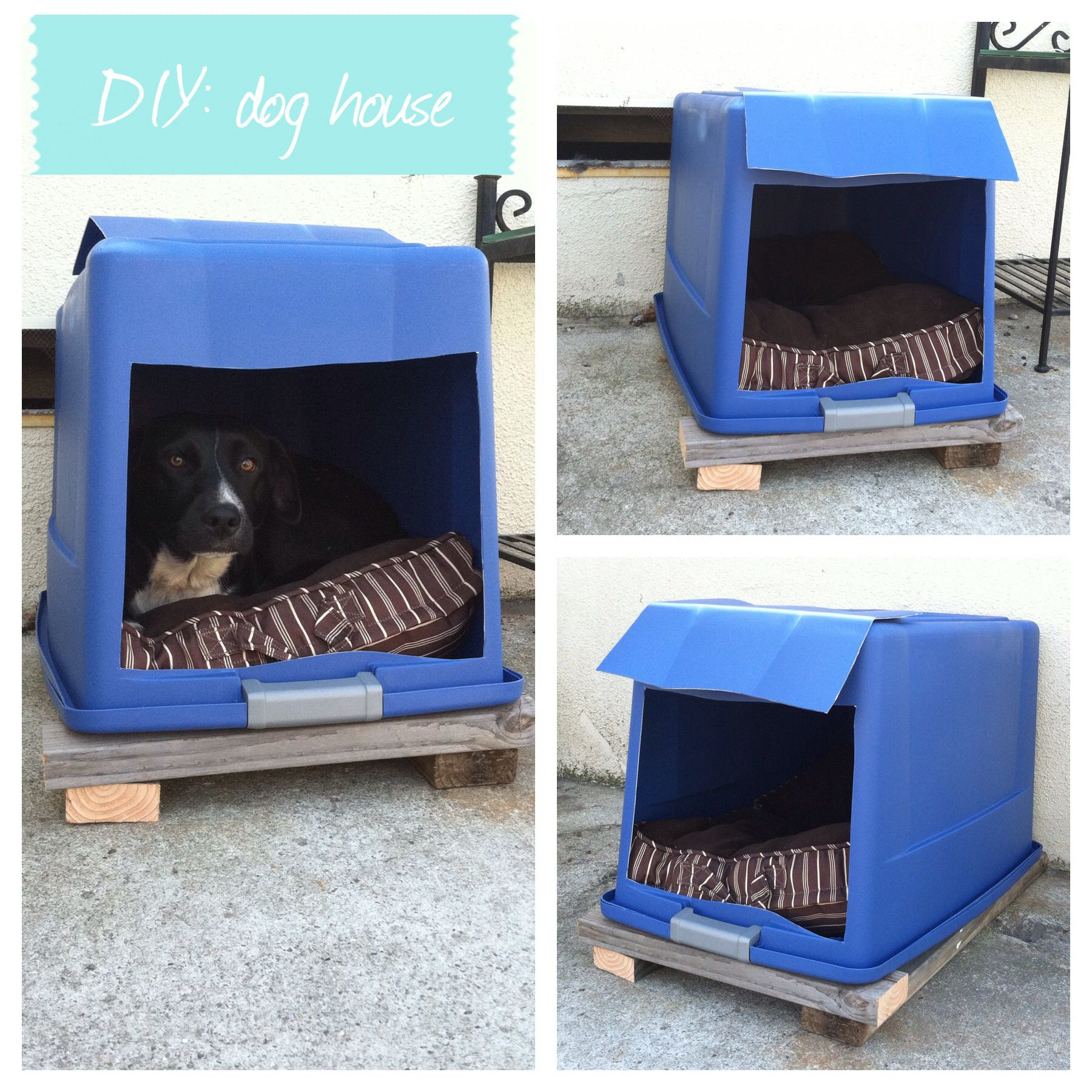 DIY Dog House Plastic Bin With Lid Attached Cut A Hole In The