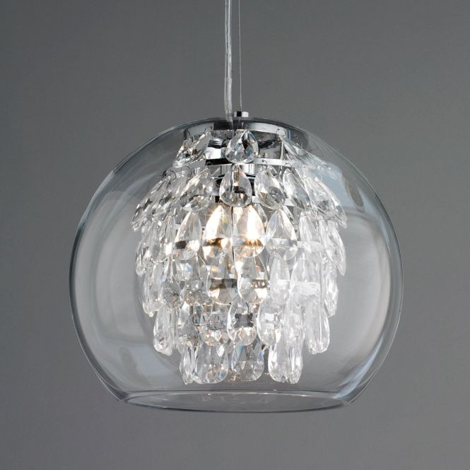 Glass Globe And Crystal Pendant Light