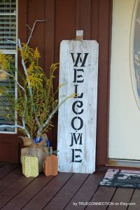 Fall Front Door Welcome Sign Reclaimed Wood by ...