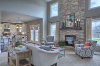 Great Room with 2-story ceiling. Gas fireplace with stone ...