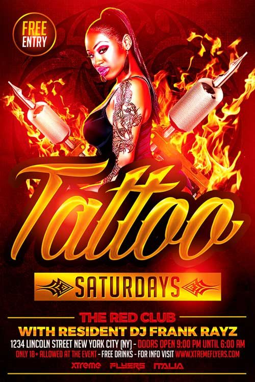 Tattoo Party Flyer Template Xtremeflyers Com