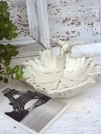 Shabby Cream Home Decor Petite Garden Bird Bath Rustic And ...