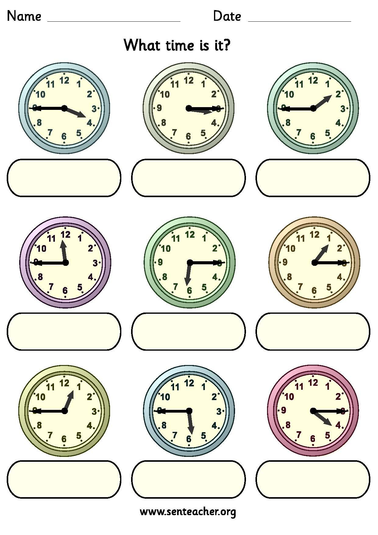 Worksheet Containing 9ogue Clocks Showing Quarter To And Quarter Past Times With Space To