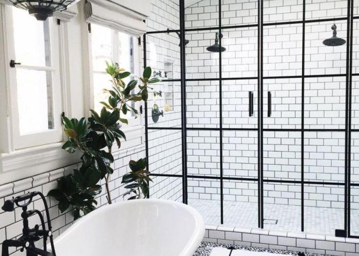 beyond stylish bathrooms with patterned encaustic tile also