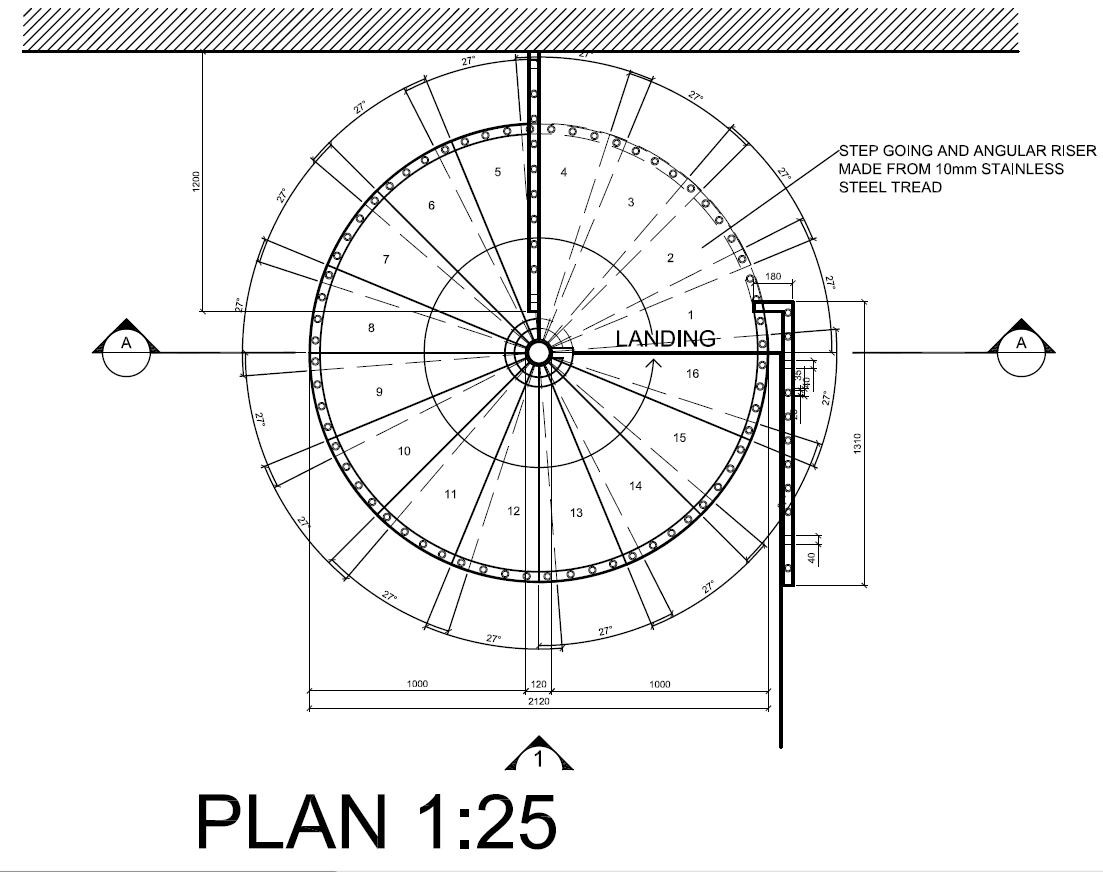 Autocad Spiral Staircase Detail Drawings Plan