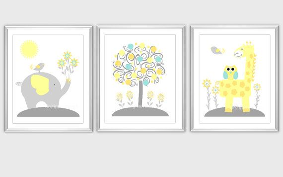 Nursery wall art yellow gray grey teal aqua orange elephant giraffe owl birds baby animals also rh pinterest