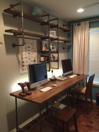 Pipe & wood office | Custom desk, Desk shelves and Pipes
