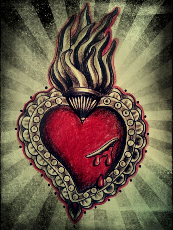 Mexican Sacred Heart Art And