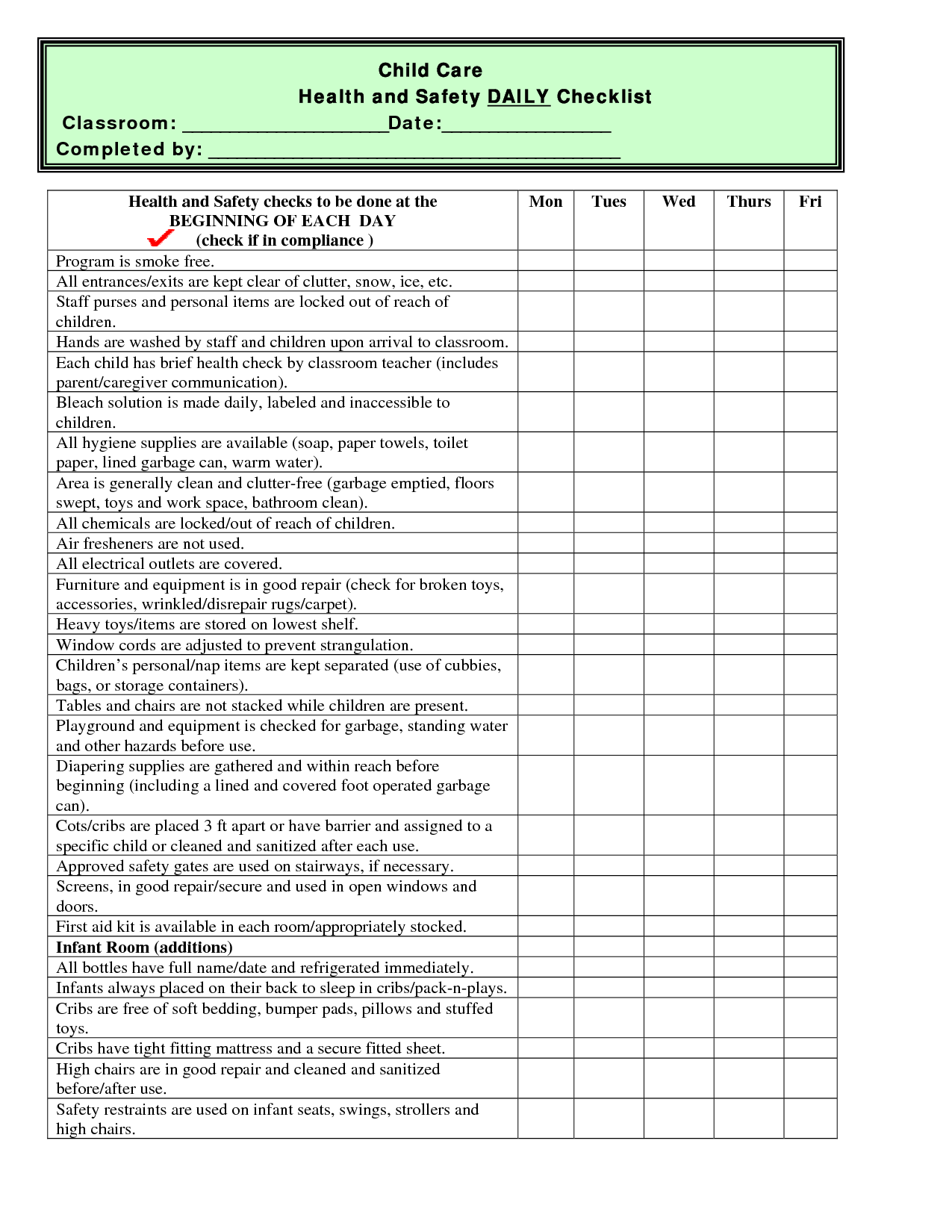 Child Care Health And Safety Daily Checklist Classroom