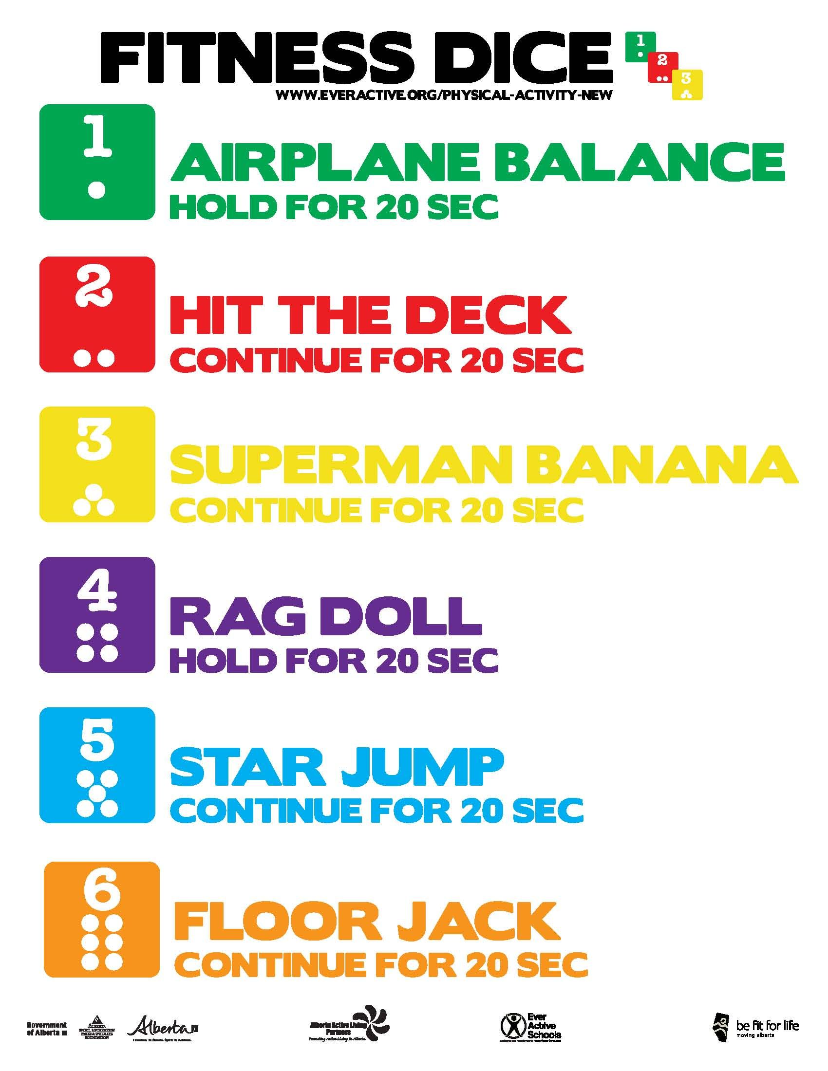 Fitness Dice Activity This Fitness Dice Poster Can Be Used As A Physical Activity It Focuses