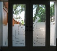 custom graphics cut in frost on residential door | Window ...