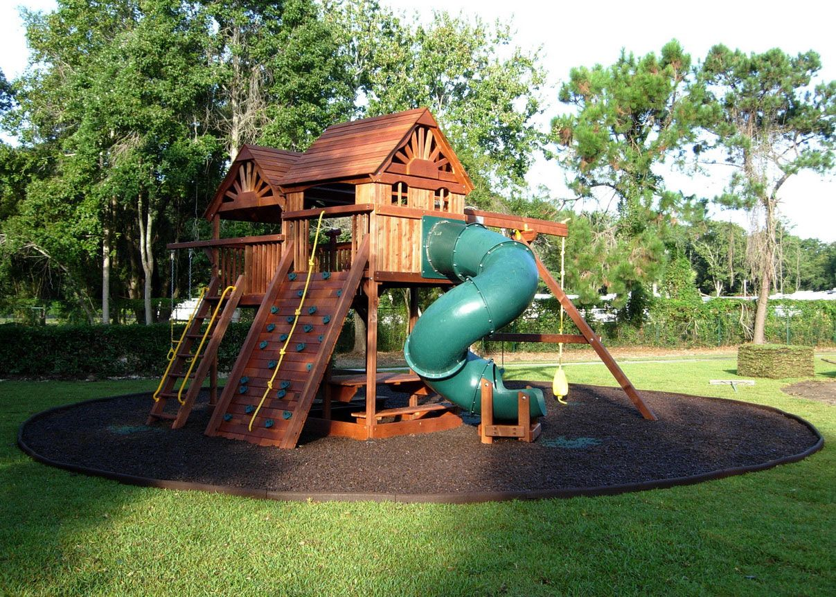 playground ideas for backyard  Backyard Rubber Mulch