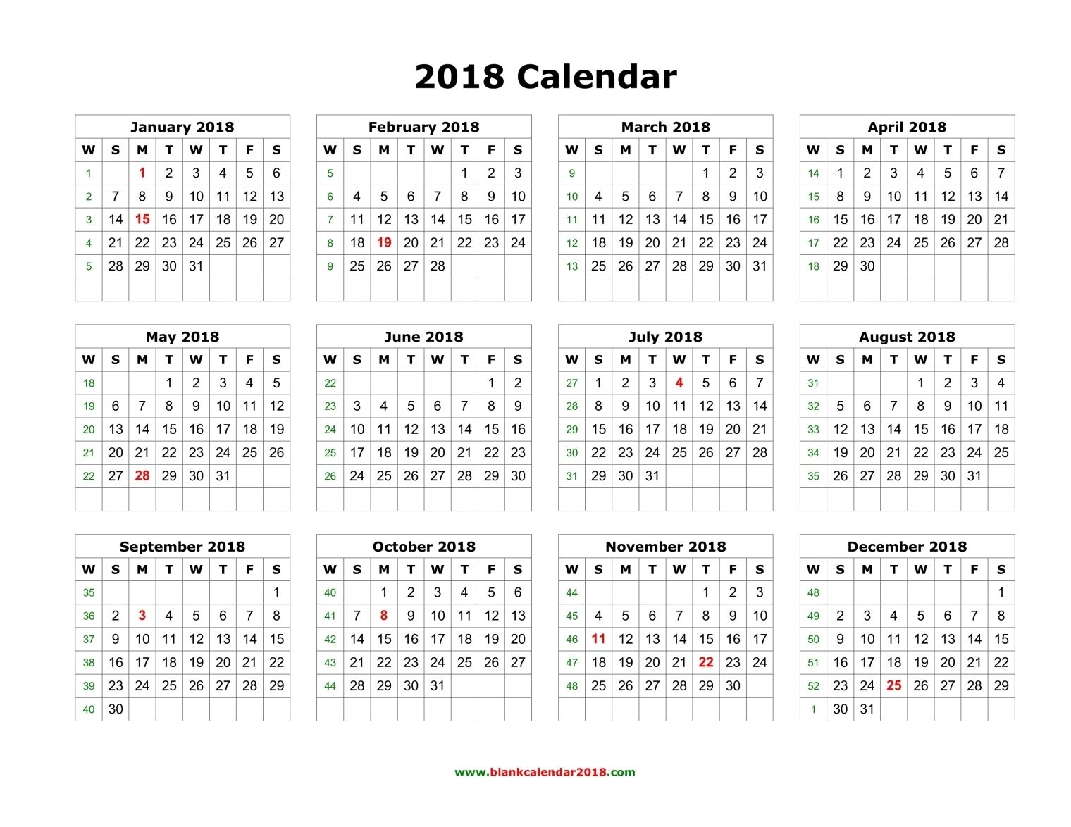 2018 calendar printable yearly 2018 calendar blank