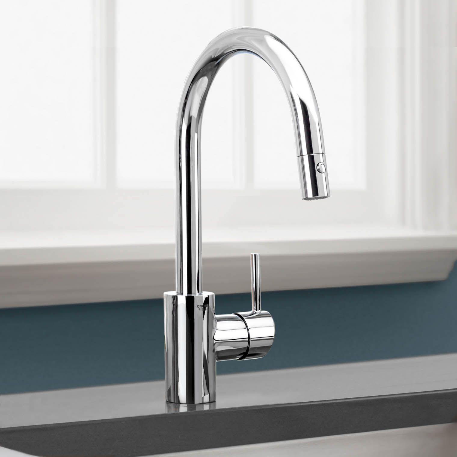 grohe kitchen faucet making cabinets concetto stainless steel