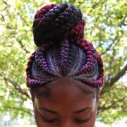 burgundy and black ghana braid