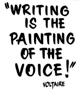 Lovely quote from Voltaire, paint your voice on paper. #