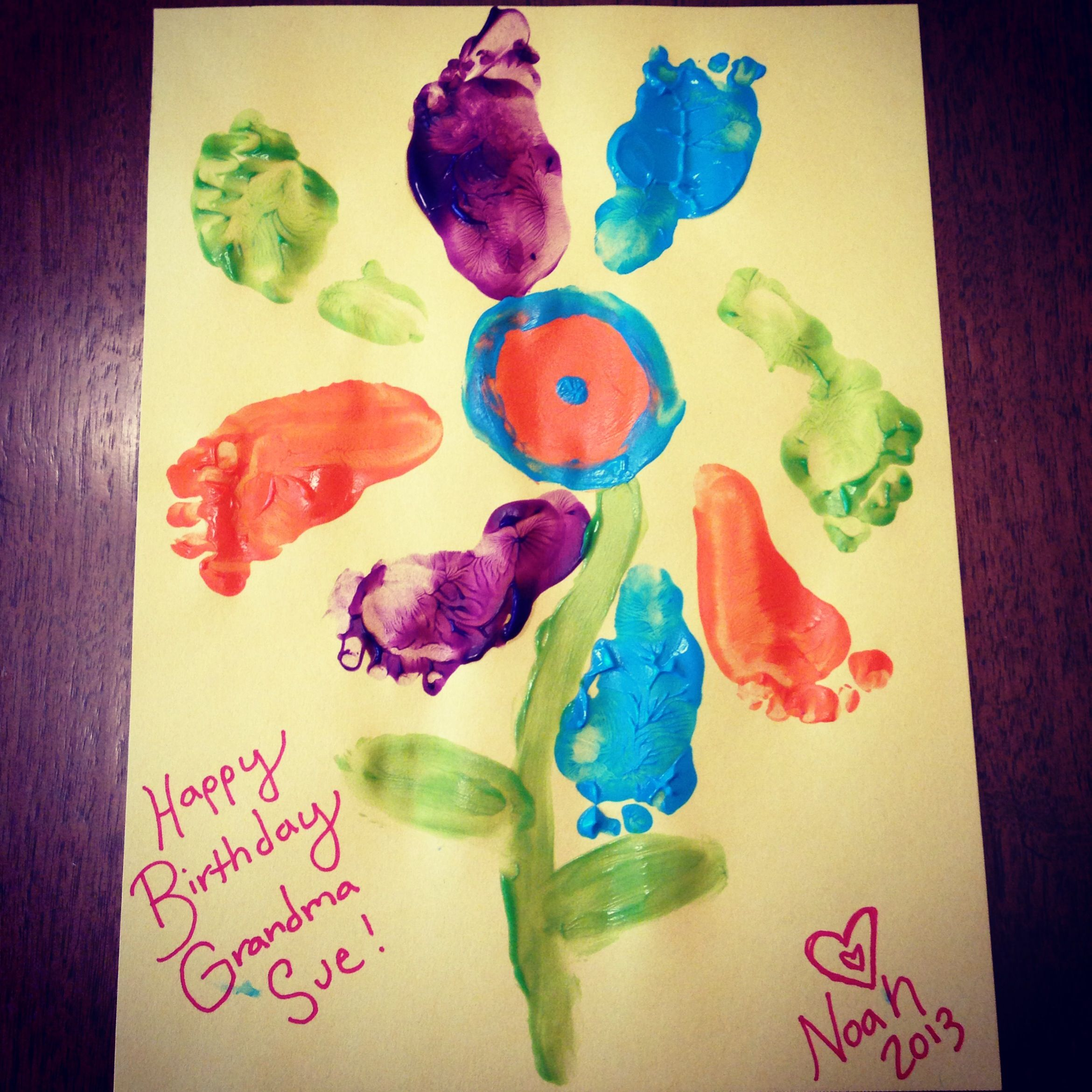 Baby Arts And Crafts! Birthday Card For Grandma Noah