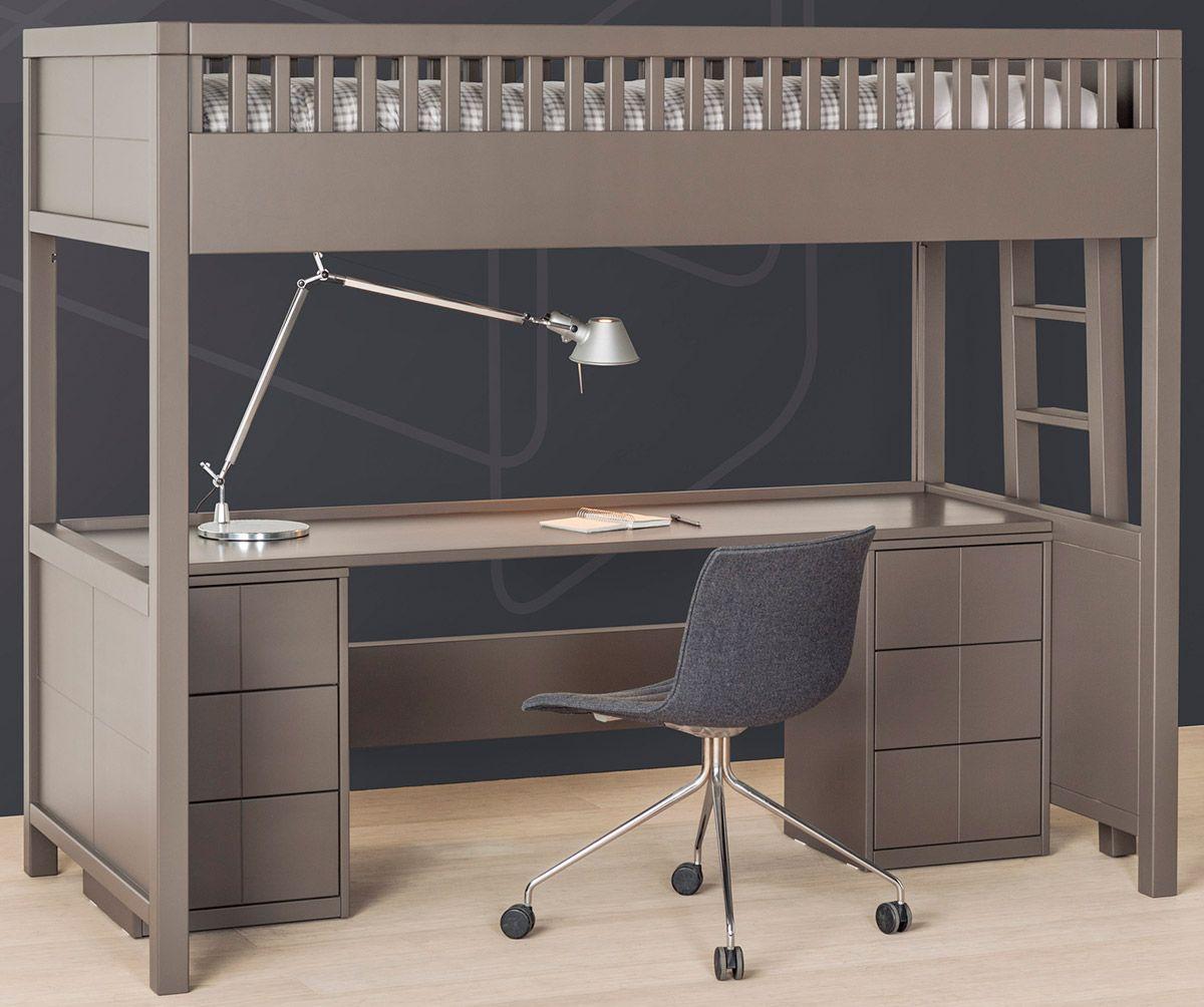 lit mezzanine quarre avec bureau rabattable