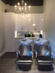 shampoo bowls with custom cabinets