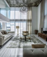 High Ceiling Living Room with Chandelier | Living room ...