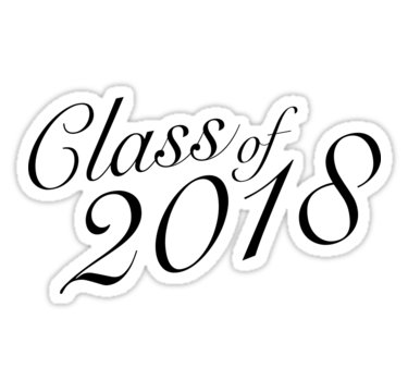 Class of 2018 Stickers. Black and white. For the high