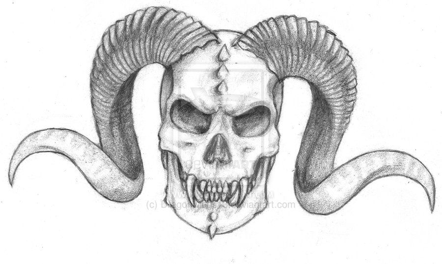 Demon Skull by Dragonwings13.deviantart.com on @deviantART
