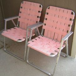 Aluminum Webbed Lawn Chairs Handicap Chair Lifts Vintage Folding 2 Pink Webbing Patio Camping Matching Pair  